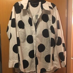White with black dots button up